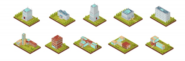 University building isometric set