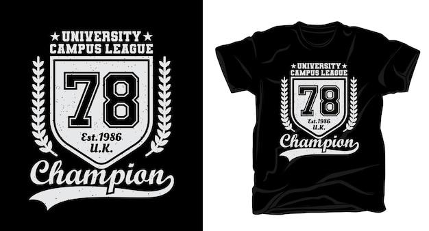 대학 캠퍼스 리그 일흔 여덟 타이포그래피 티셔츠 디자인