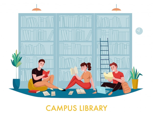University campus library bookcases flat composition with students reading books articles with bookshelves