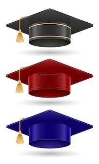 Университетский колледж и выпускник академии шляпа векторные иллюстрации, изолированные на белом фоне