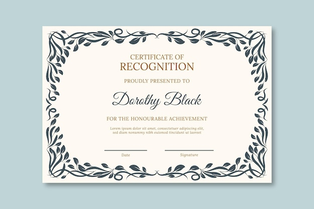 University diploma template with black frame