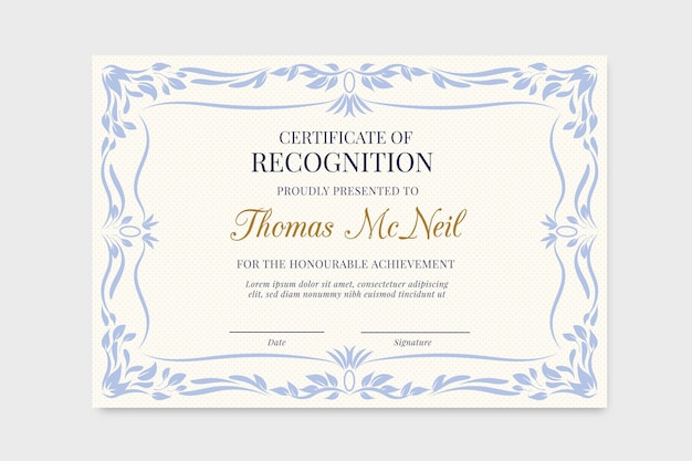 University diploma template with blue floral frame