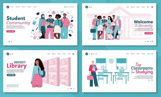 University education and students community web banners set illustration