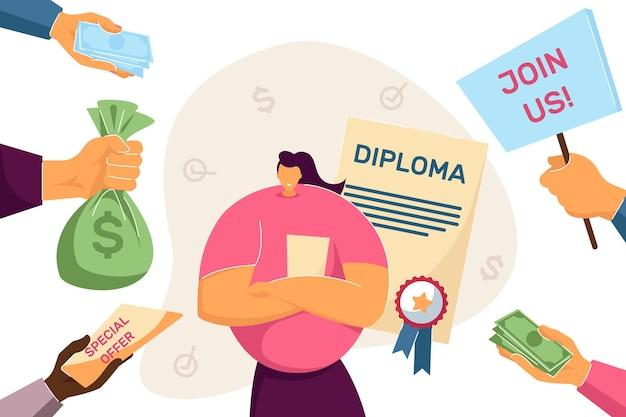 協力の申し出を受ける大学卒業生。フラットベクトルイラスト。優等学位を取得している少女にお金を提供する雇用主。教育、資格、成功、コンセプト