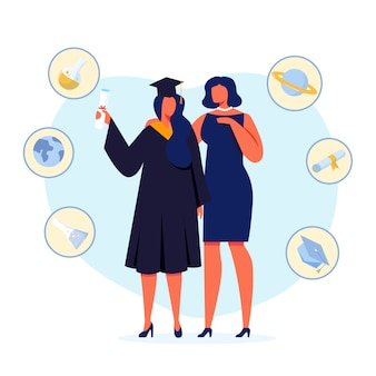 University graduation flat illustration