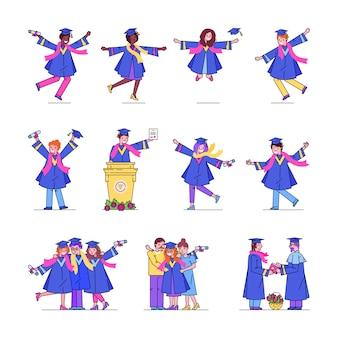 University graduation students line set collection of happy dancing graduates illustrations.