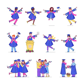 Выпуск студентов университета линия набор счастливых танцев выпускников иллюстраций.