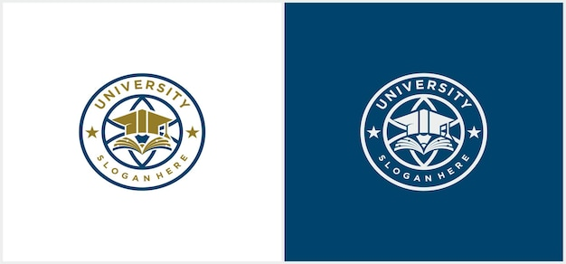 University logo vector, university, academy, school and course logo design template in gold and blue color