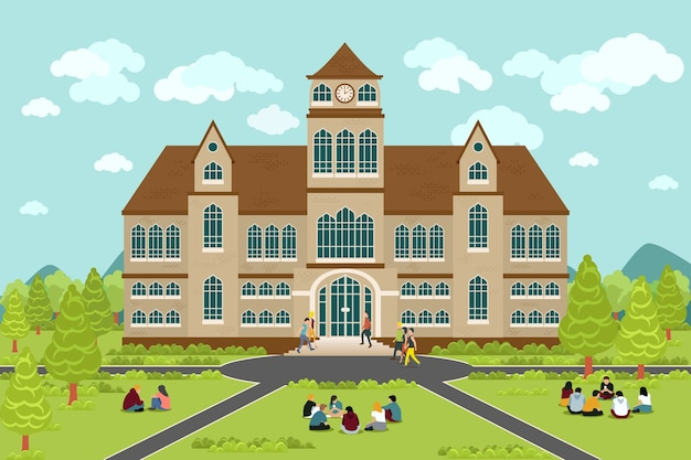 Здание университета или колледжа. студент образования, плоский дизайн кампуса, выпускной университет,