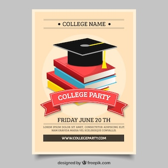 University party brochure with mortarboard and books