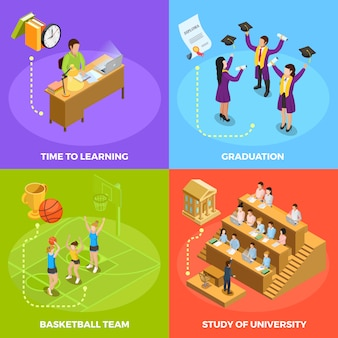 University people 4 isometric icons square