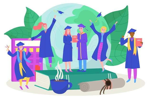 大学卒業コンセプトベクトルイラスト学生男性女性キャラクターは卒業証書を保持しています...