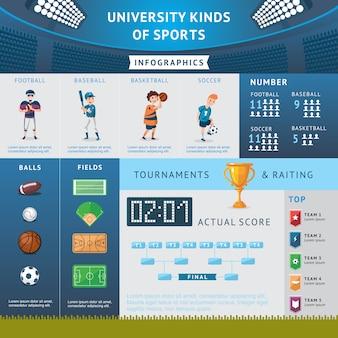 대학 스포츠 인포 그래픽 개념