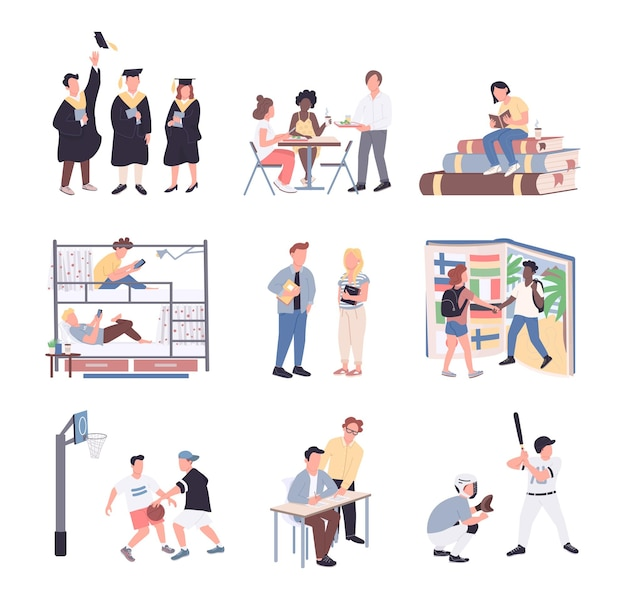 University students flat color faceless characters set. students isolated cartoon illustrations on white background. college lifestyle. studying, dormitory, sport, communication and graduation
