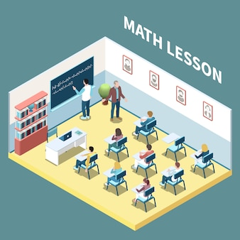 University students on maths lesson isometric composition 3d vector illustration