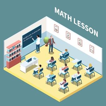 Studenti universitari sull'illustrazione isometrica di vettore della composizione 3d in lezione di per la matematica