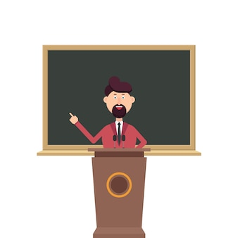 University teacher standing at the podium tribune in front of blackboard