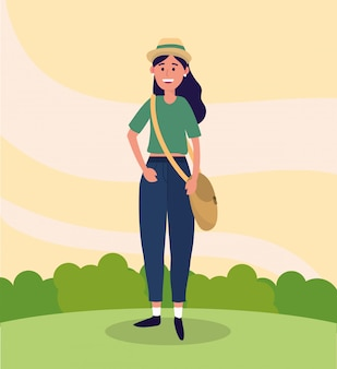 University woman wearing hat and casual clothes