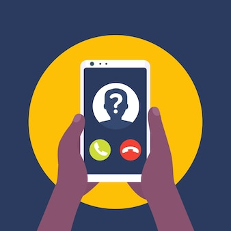 Unknown caller, phone call, smartphone in hands vector icon