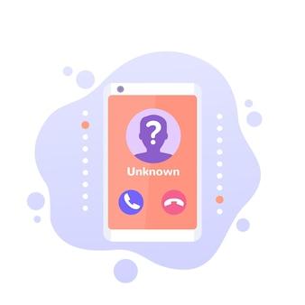 Неизвестный абонент, телефонный звонок векторный icon