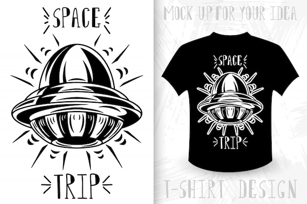 Unknown flying object.  t-shirt print in vintage monochrome style.