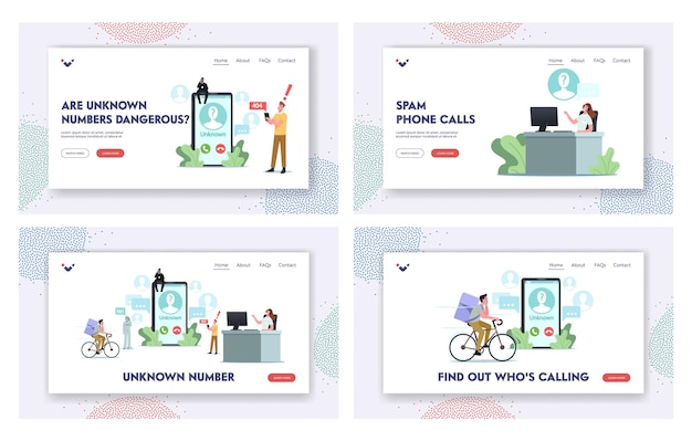 Unknown number landing page template set. tiny characters around of huge smartphone take call from cheater, call service or bot. prank, scam, fraud activity concept. cartoon people vector illustration
