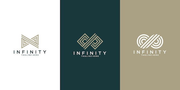 Unlimited collection of unique logo concepts in a modern flat outline style.