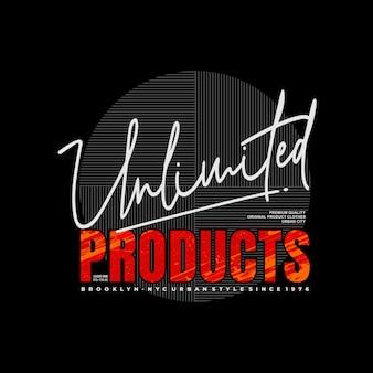 無制限の製品は、プリントtシャツプレミアムベクトルのタイポグラフィを設計します