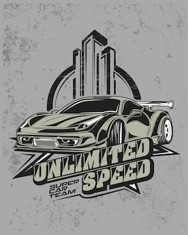 Unlimited speed, modern racing car illustration