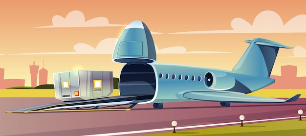 Unloading or loading heavy container on cargo airplane with upped nose in airport cartoon