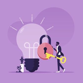 電球のキーホールドに挿入しようとしている金色のキーを保持しているビジネスアイデアのビジネスマンのロックを解除します