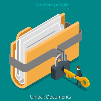Unlock folder secure data file document with lock key icon