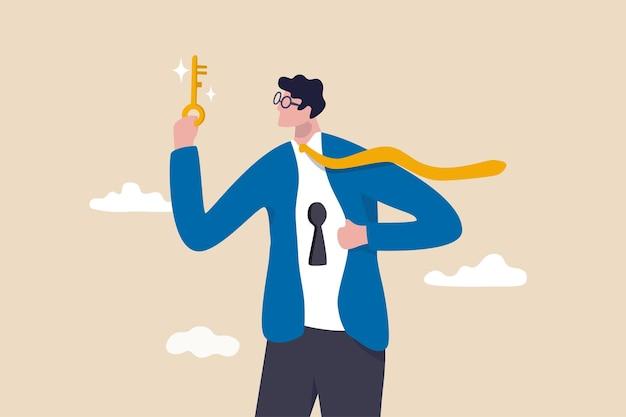 진정한 잠재력, 직업이나 사업에서 성공하기 위한 이상적인 자아, 문제 개념을 해결하기 위한 비밀 마음이나 기술, 셔츠의 열쇠 구멍을 풀려고 하는 황금 열쇠를 들고 있는 자신감 있는 사업가를 잠금 해제하십시오.
