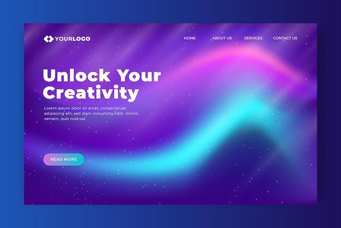 Unlock your creativity northern lights landing page