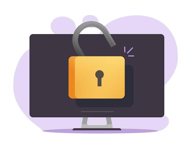開いた南京錠ベクトルを使用してオンラインでロック解除されたコンピューターアクセス