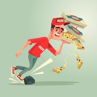 不運な宅配便の男のキャラクターが石につまずき、ピザを落とします。