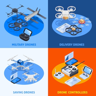 Unmanned aircrafts isometric compositions