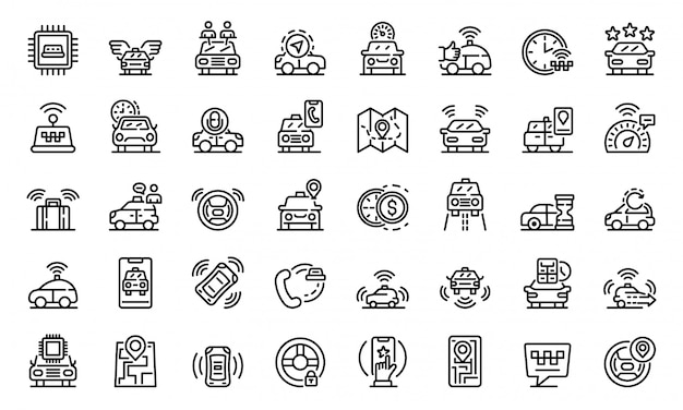 Unmanned taxi icons set