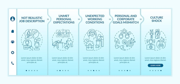 Unmet personal expectations onboarding  template. personal and corporate goals mismatch. responsive mobile website. webpage walkthrough step screens. rgb color concept