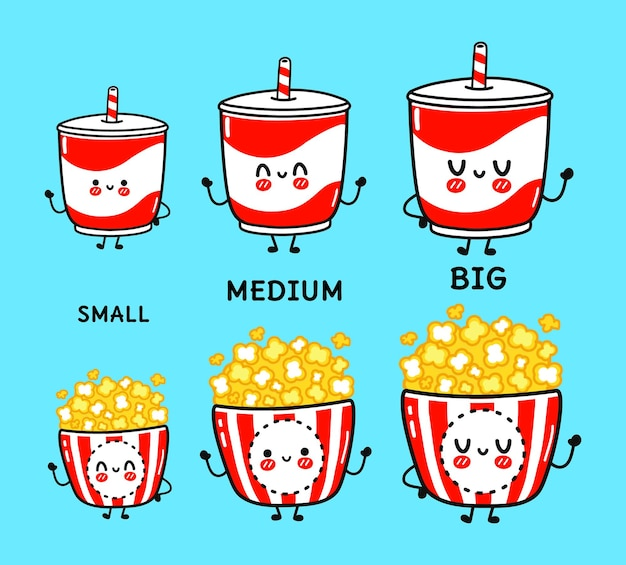 Unny cute happy old drinks and popcorn characters bundle set