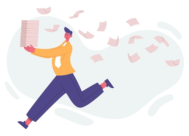 Unorganised running office worker