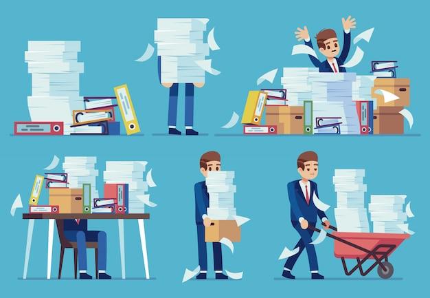 Неорганизованная офисная работа. груды бухгалтерских бумажных документов, беспорядок в файлах на бухгалтерском столе. концепция рутинного оформления документов