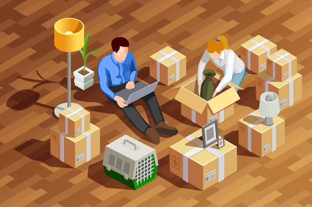 Unpacking boxes isometric composition