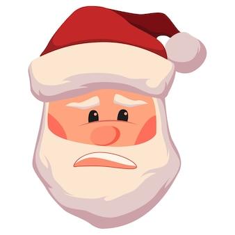 不愉快に驚いて動揺したサンタクロースの顔のイラスト。クリスマスサンタクロースの頭