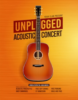 Unplugged acoustic guitar concert poster
