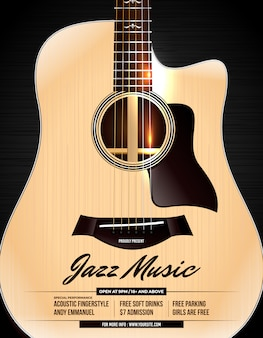 Unplugged acoustic guitar jazz concert poster