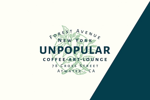 Unpopular coffee - art - lounge logo fully editable with color