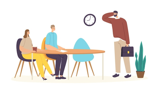 Unpunctual manager male character wear sloppy clothes scratching head front of business colleagues sitting at office desk being too late on meeting or conference. cartoon people vector illustration