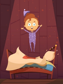 Непослушный мультфильм дошкольник в пижаме прыгает на неубранной кровати плоской ретро векторная иллюстрация
