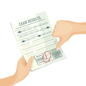 Unsatisfactory exam results on paper in human hands. assessment for university or school test with bad grade isolated cartoon flat  .